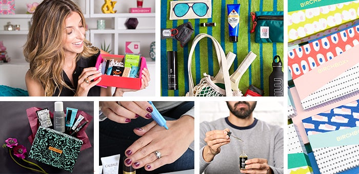 Images of monthly Birchboxes, women and men using beauty and grooming products